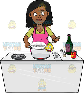 A Black Woman Looks Happy At The Yummy Dish She Is Cooking