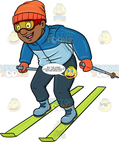 A Black Man Having Fun While Skiing