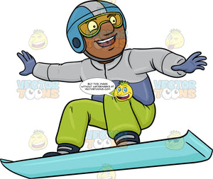 A Black Man Basking In Merriment While Snowboarding
