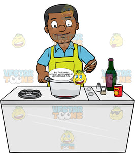 A Black Man Looks Happy At The Yummy Dish He Is Cooking