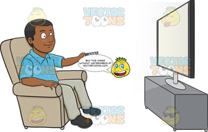 A Black Man Entertaining Himself By Watching A Show On His Flat Screen Tv