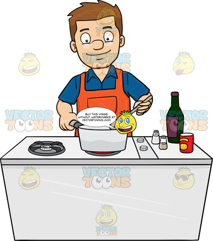 A Man Looks Happy At The Yummy Dish He Is Cooking