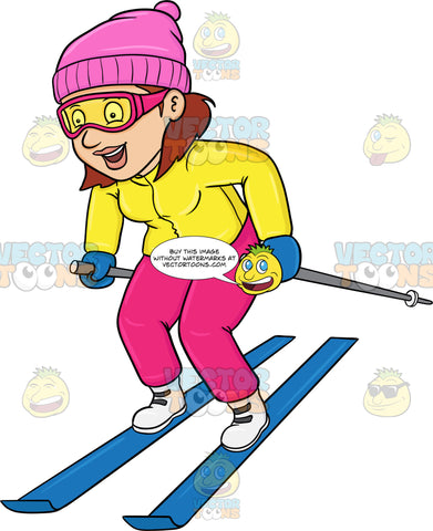 A Woman Having Fun While Skiing