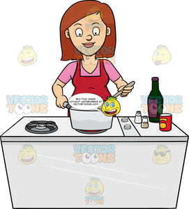 A Woman Looks Happy At The Yummy Dish She Is Cooking