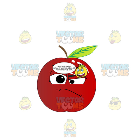 Red Apple Frowning In Doubt Emoji
