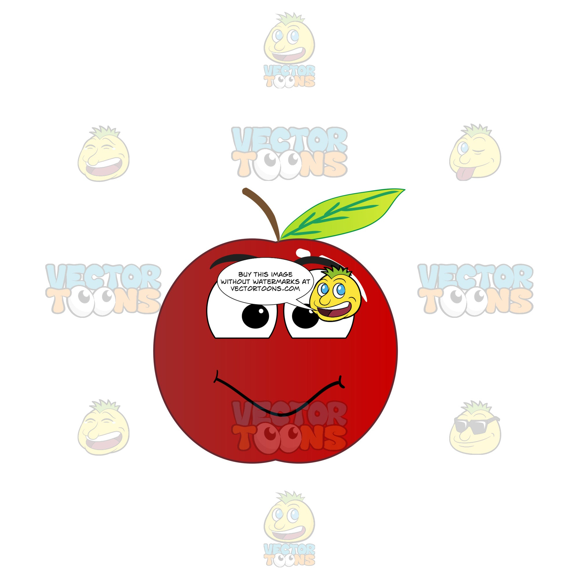 Red Apple With Smiling Face Looking At Camera Emoji