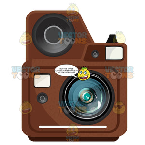 Brown Instant Camera With Built In Flash