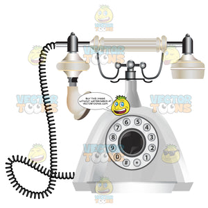 White Vintage Rotary Telephone