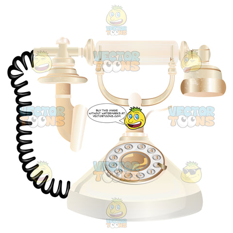 White Fancy Rotary Phone