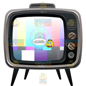 Vintage Color Telly With Knobs, Dials Displaying Test Pattern