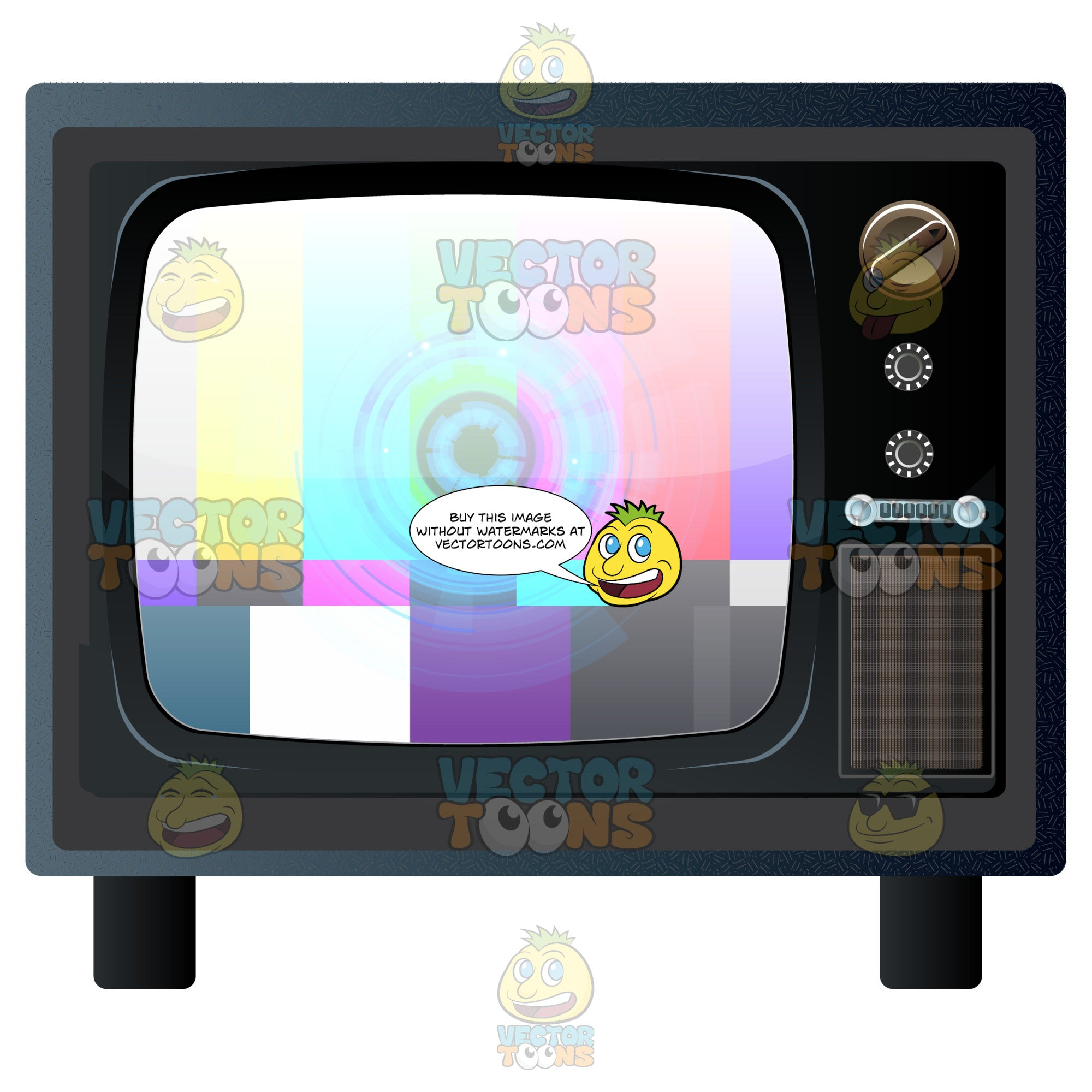 Old Floor Model Color Television Set With Test Card Pattern On Screen
