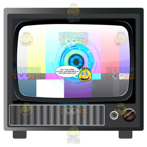 Color Test Card Displayed On Old Model Tv