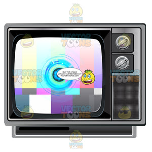 Black Old Style Knob Tv Set Showing Test Signal Card, Color