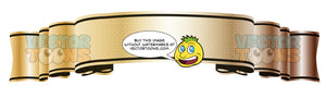 Classic Gold Reflective Gradient Blank Banner Scroll Pointing Up