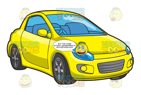 A Right Hand Drive Yellow Compact Car