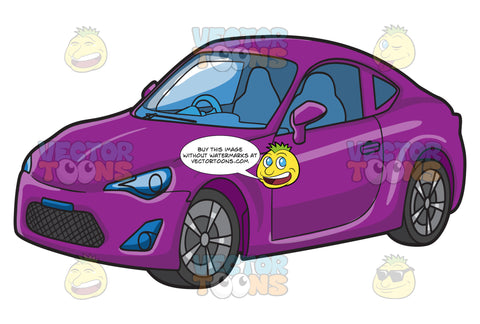 A Right Hand Drive Sporty Car In Purple