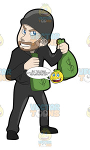 A Greedy Robber Carrying Bags Of Money