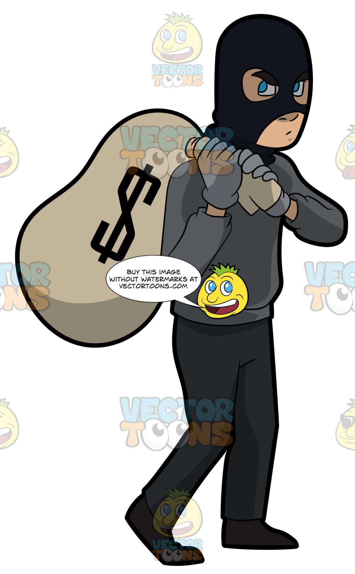 A Robber Taking A Big Sack Of Money