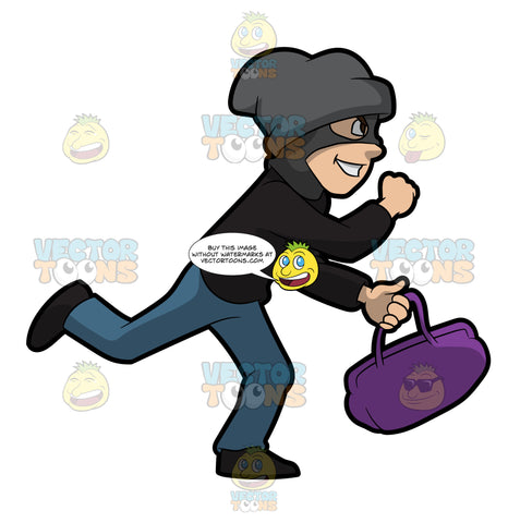 A Robber Running Away With A Stolen Bag