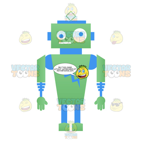 Green And Blue Cartoon Robot
