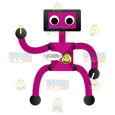 Purple Robot With A Small Body And Long Arms And Legs