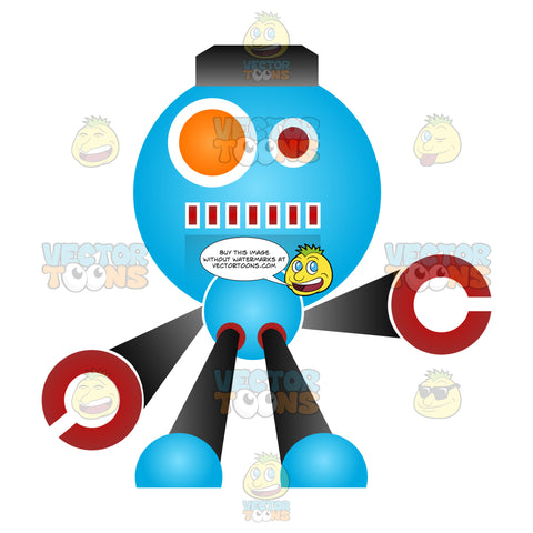 Blue Black And Red Cartoon Robot