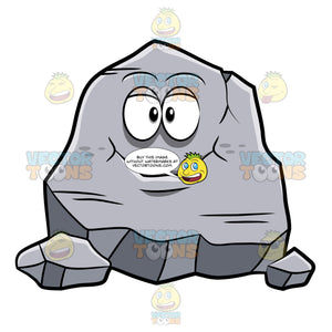 A Smiling Huge Rock Cartoon