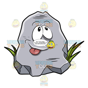 A Cartoon Rock Poking His Tongue Out