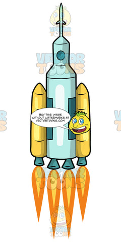 A Light Blue Rocket Ship Lifting Off. A light blue cylindrical rocket ship with yellow booster rockets launching into space