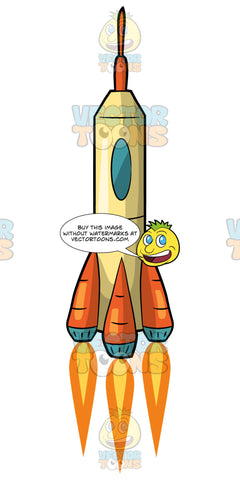 A Cylindrical Rocket Ship Launching Into Space. A light yellow rocket ship with an oval shaped window and three orange and blue jet engines with flames coming out of them
