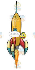 A Yellow Rocket Ship Lifting Off Into Outer Space. A yellow rocket ship with a small window and red, blue and yellow fins, takes off into space with flames coming out of the jet engine