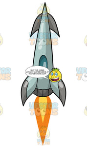 A Rocket Ship Lifting Off Into Space. A grey and light blue triangular shaped rocket ship with fins blasting off into space