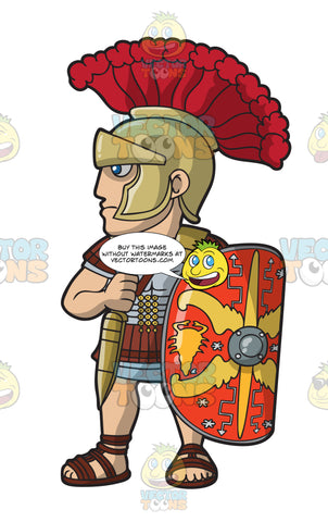 A Roman Centurion Ready For An Attack