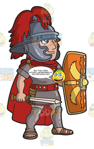 A Roman Centurion With His Shield