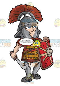 A Roman Centurion Patrolling The Grounds