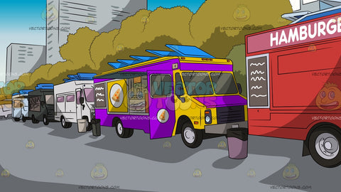 Row Of Food Trucks Background