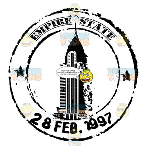Empire State Building Black And White Travel Rubber Stamp Clipart