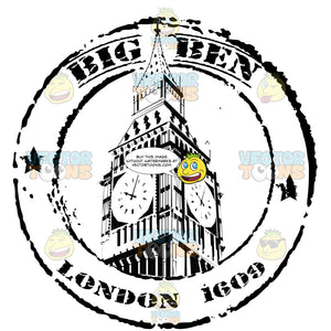 Big Ben London Black And White Travel Stamp Circle