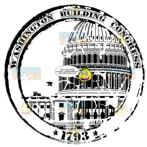 Washinton Dc Congress Government Building Rubber Travel Stamp