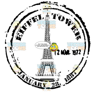 Eiffle Tower Paris France Cicrle Rubber Travel Post Mark