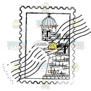 Postage Stamp Rubber Mark With Castle Building No Location