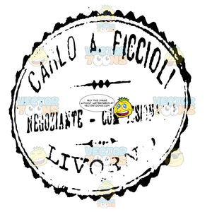 Carlo A Ficcioli Livorno Italy Black And White Rubber Stamp