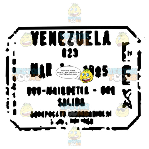 Venezuela South America Black And White Passport Travel Stamp