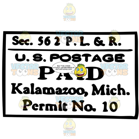 U S Postage Paid Kalamazoo Michigan Rubber Postage Stamp