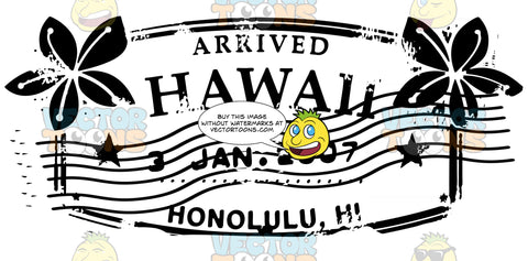 Honolulu Hawaii Travel Passport Mail Stamp With Lei Flowers