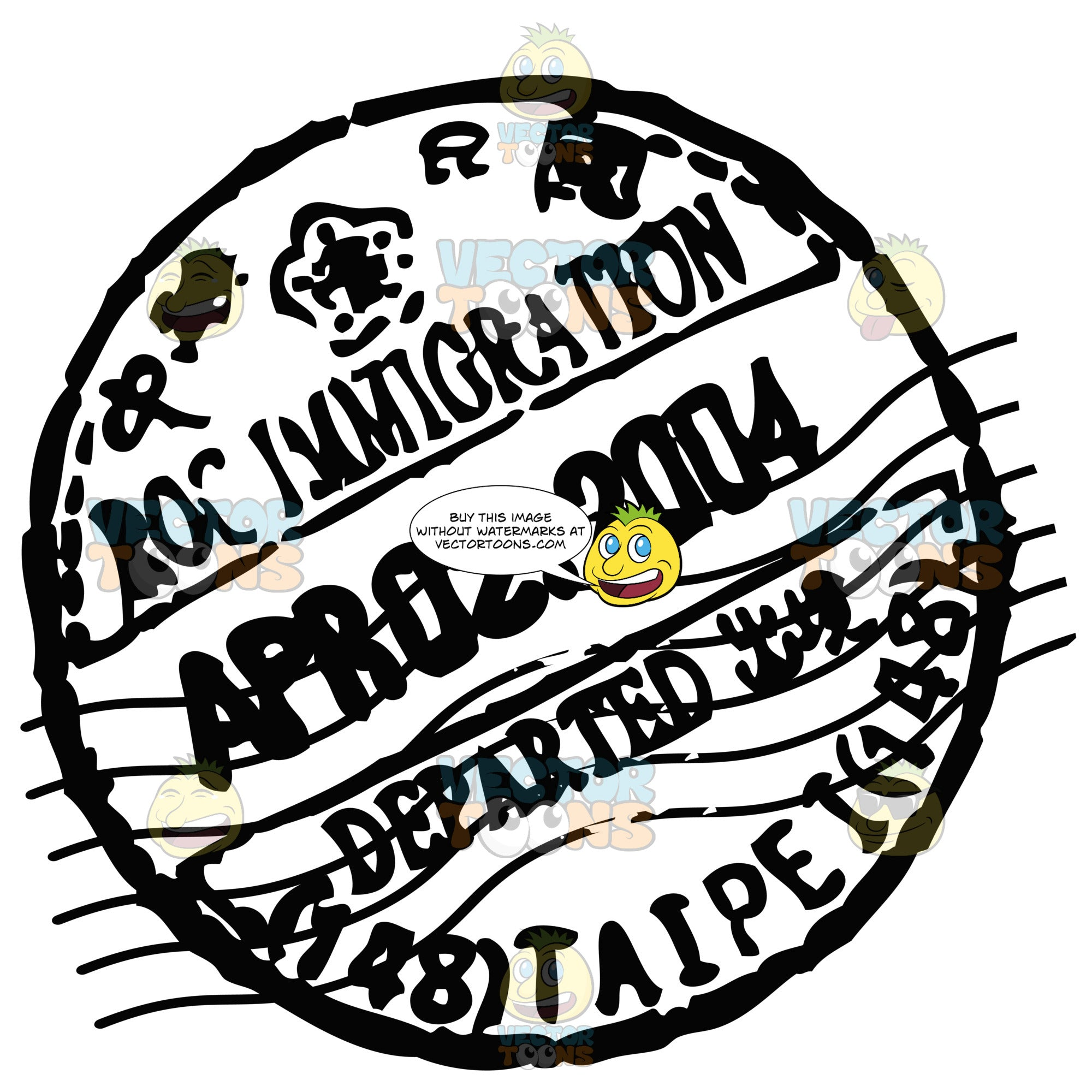 Rubber Black And White Circle Passport Stamp Clipart Cartoons By