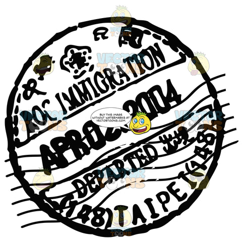 Rubber Black And White Circle Passport Stamp