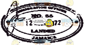 Jamaica Black And White Rubber Stamp Oval Shape