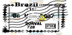 Brazil Customs Diamonds Form Rectangle Border Shape Rubber Stamp