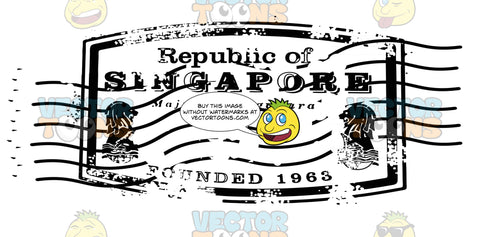 Republic Of Singapore Rounded Rectangle Rubber Stamp With Sea Creature Graphics